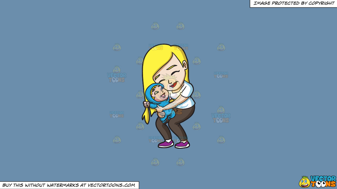 A Mother Hugging Her Cheerful Child On A Solid Shadow Blue 6c8ead Background thumbnail