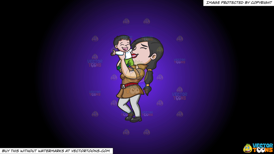 A Mother Lifting Her Happy Kid On A Purple And Black Gradient Background thumbnail