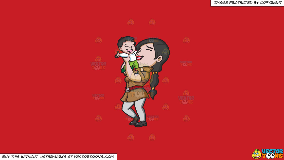 A Mother Lifting Her Happy Kid On A Solid Fire Engine Red C81d25 Background thumbnail