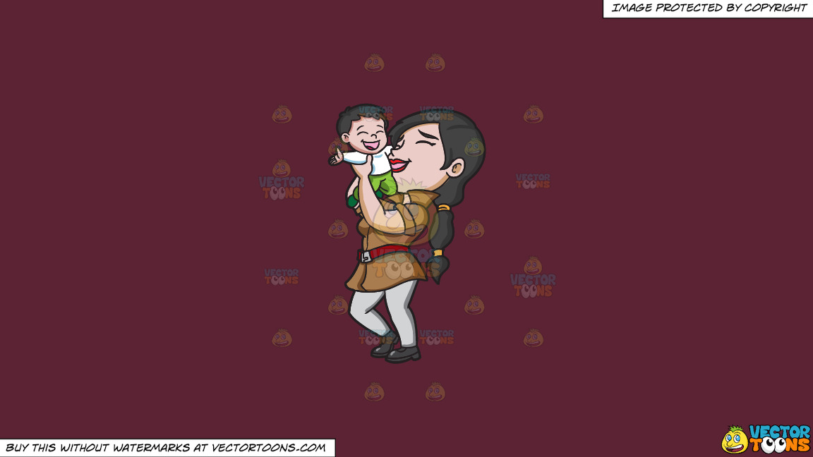 A Mother Lifting Her Happy Kid On A Solid Red Wine 5b2333 Background thumbnail