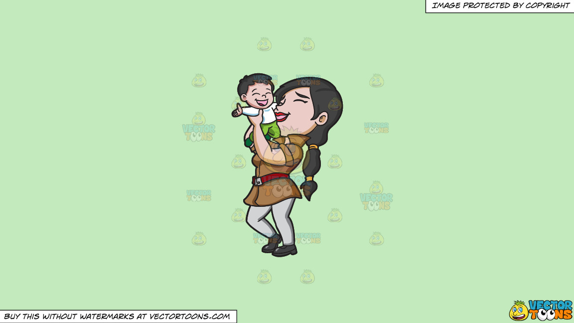 A Mother Lifting Her Happy Kid On A Solid Tea Green C2eabd Background thumbnail