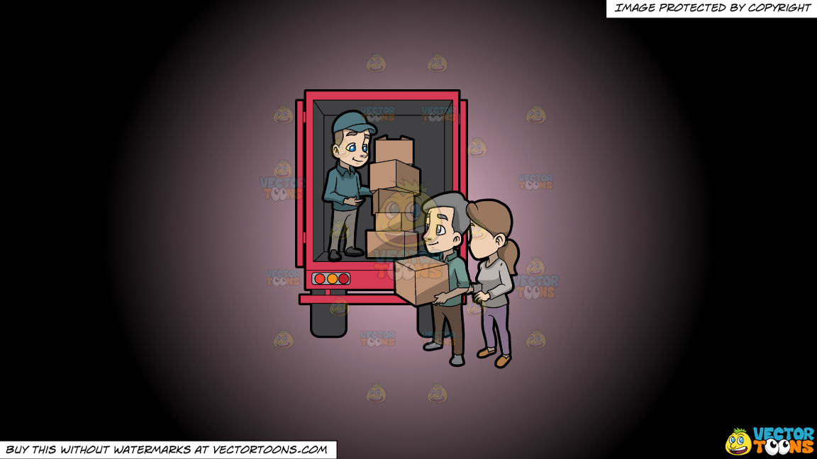 A Mover Giving A Package Box To The Man Below The Truck On A Pink And Black Gradient Background thumbnail