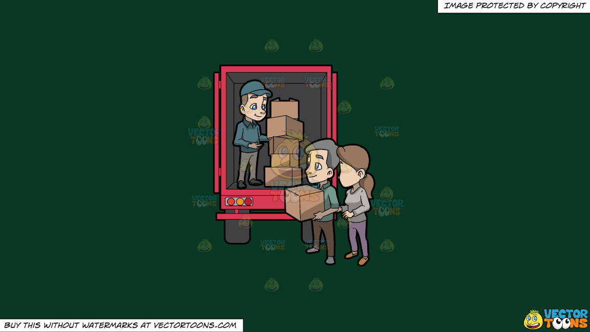 A Mover Giving A Package Box To The Man Below The Truck On A Solid Dark Green 093824 Background thumbnail