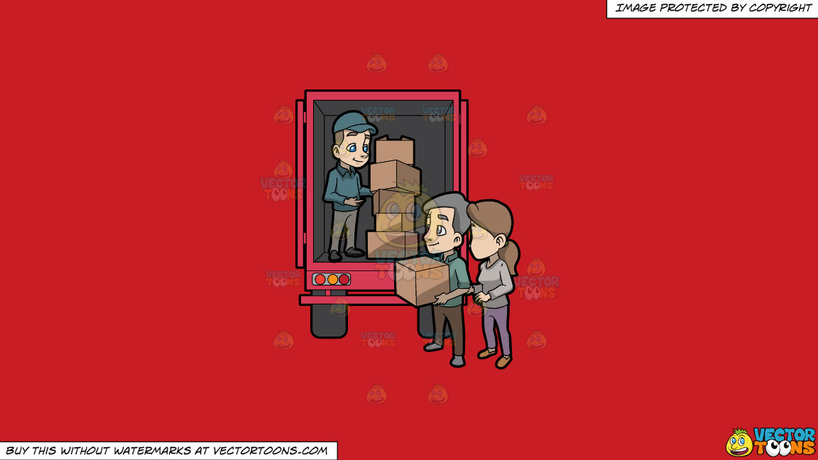 A Mover Giving A Package Box To The Man Below The Truck On A Solid Fire Engine Red C81d25 Background thumbnail