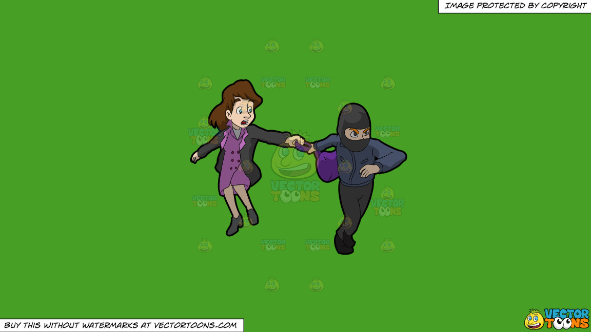 A Mugger Stealing The Bag Of A Woman On A Solid Kelly Green 47a025 Background thumbnail