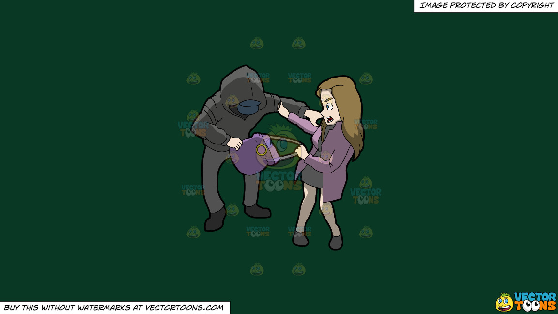 A Mugger Trying To Steal A Womans Purse From Her Shoulder On A Solid Dark Green 093824 Background thumbnail