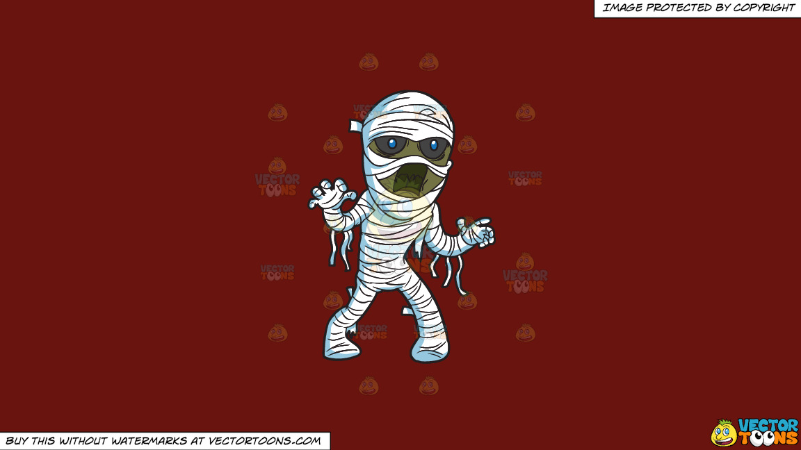 A Mummy Haunting People On A Solid Maroon 69140e Background thumbnail