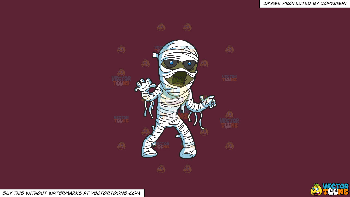 A Mummy Haunting People On A Solid Red Wine 5b2333 Background thumbnail