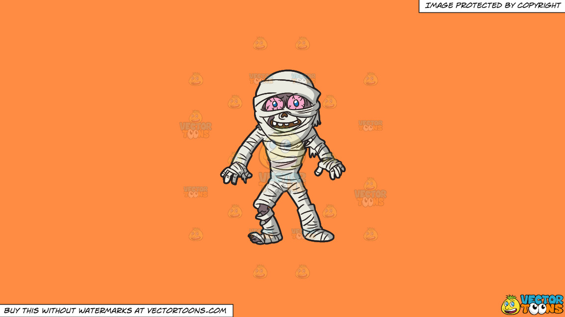 A Mummy Looking Surprised On A Solid Mango Orange Ff8c42 Background thumbnail