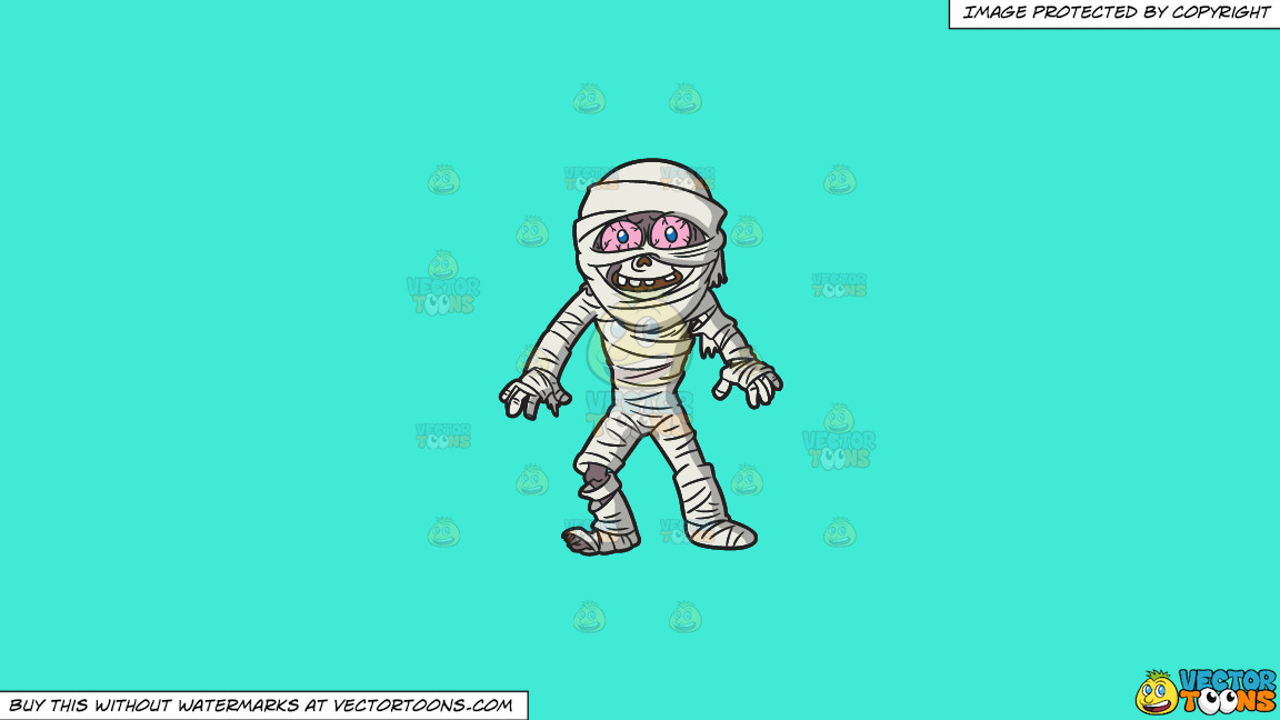 A Mummy Looking Surprised On A Solid Turquiose 41ead4 Background thumbnail