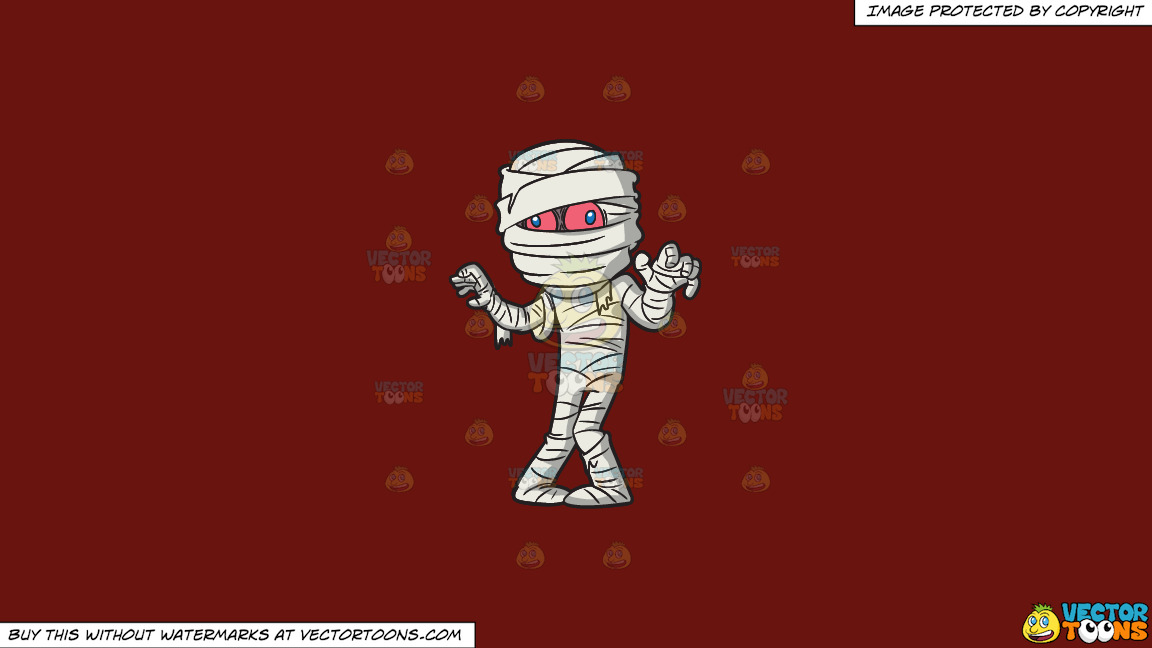 A Mummy Trying To Scare People On A Solid Maroon 69140e Background thumbnail