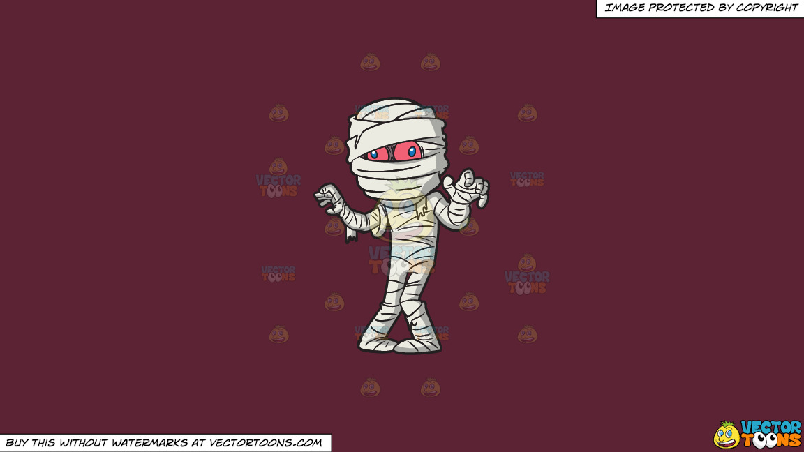 A Mummy Trying To Scare People On A Solid Red Wine 5b2333 Background thumbnail