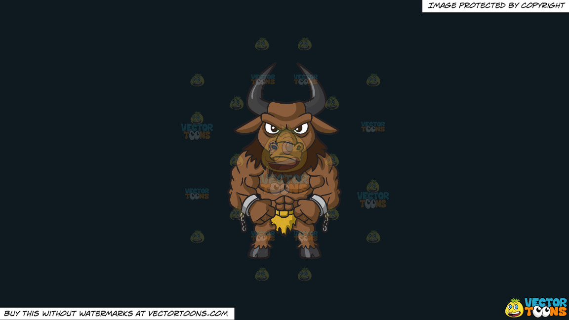 A Muscular Minotaur On A Solid Off Black 0f1a20 Background thumbnail