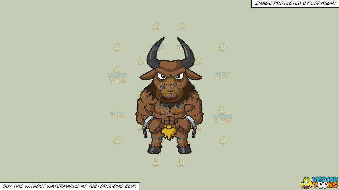A Muscular Minotaur On A Solid Pale Silver C6ccb2 Background thumbnail