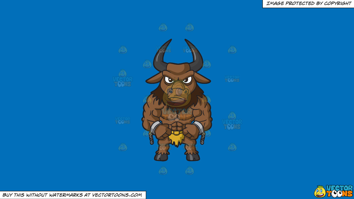 A Muscular Minotaur On A Solid Spanish Blue 016fb9 Background thumbnail