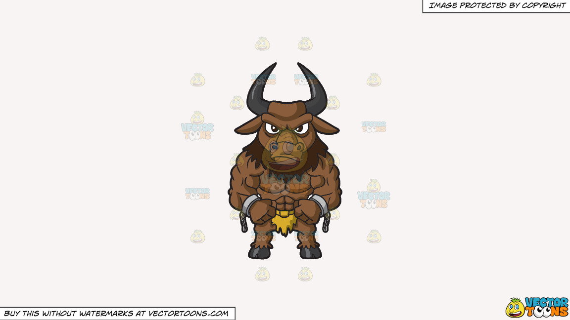 A Muscular Minotaur On A Solid White Smoke F7f4f3 Background thumbnail