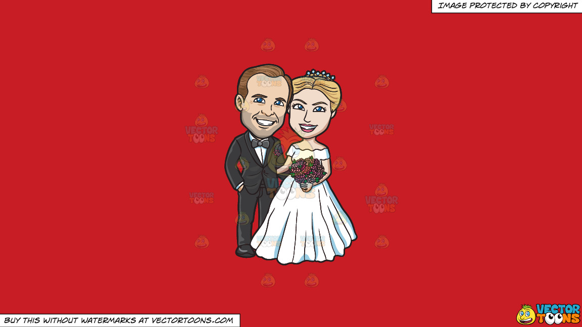 A Newlywed Couple Posing For Photos On A Solid Fire Engine Red C81d25 Background thumbnail