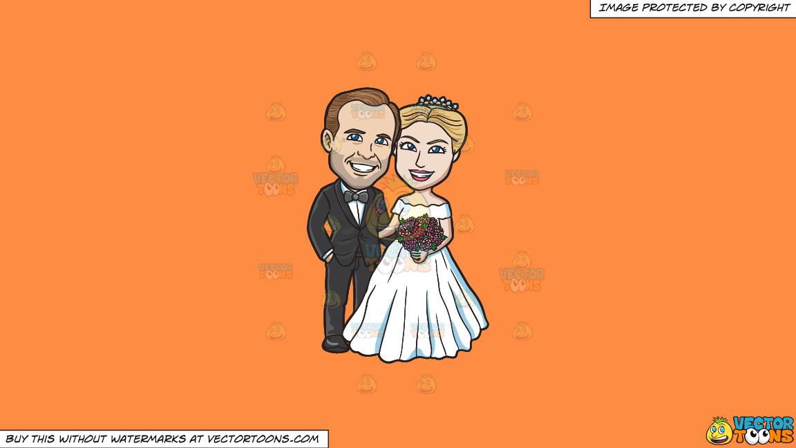A Newlywed Couple Posing For Photos On A Solid Mango Orange Ff8c42 Background thumbnail