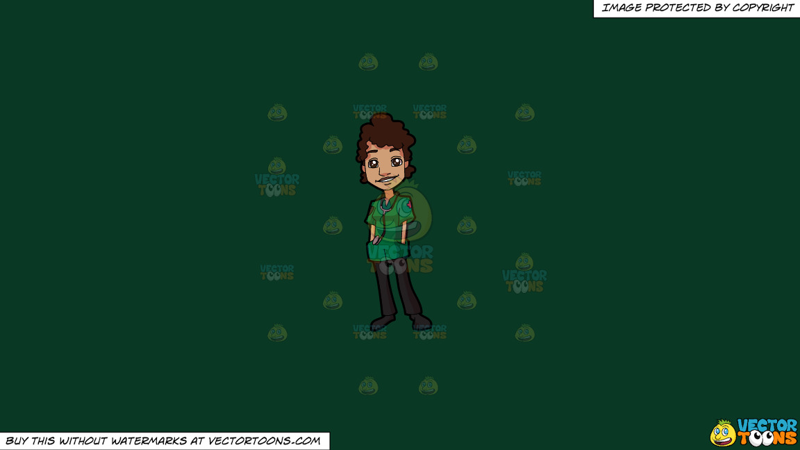 A Nice Female Paramedic On A Solid Dark Green 093824 Background thumbnail