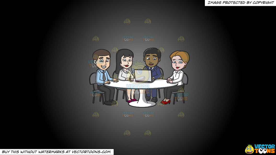 A Nice Group Of Workers In The Meeting Room On A Grey And Black Gradient Background thumbnail