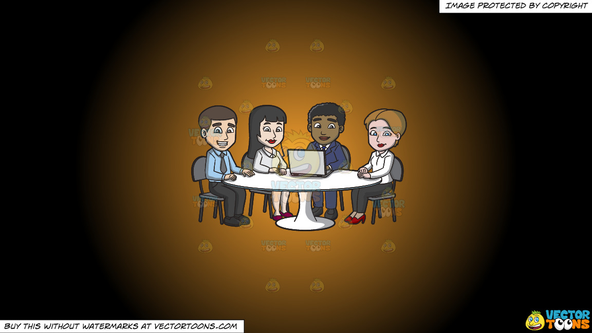 A Nice Group Of Workers In The Meeting Room On A Orange And Black Gradient Background thumbnail