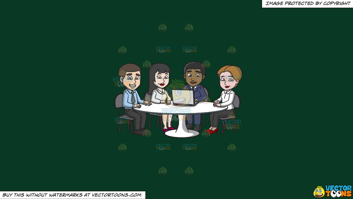 A Nice Group Of Workers In The Meeting Room On A Solid Dark Green 093824 Background thumbnail