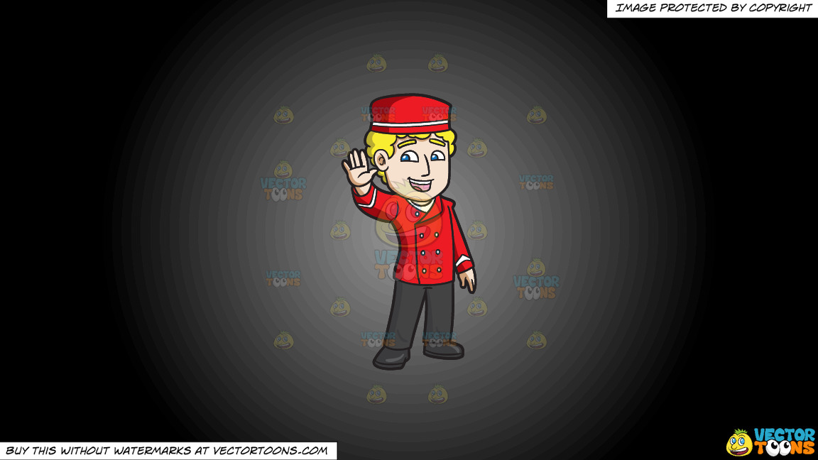 A Parking Valet Waving Hello On A Grey And Black Gradient Background thumbnail