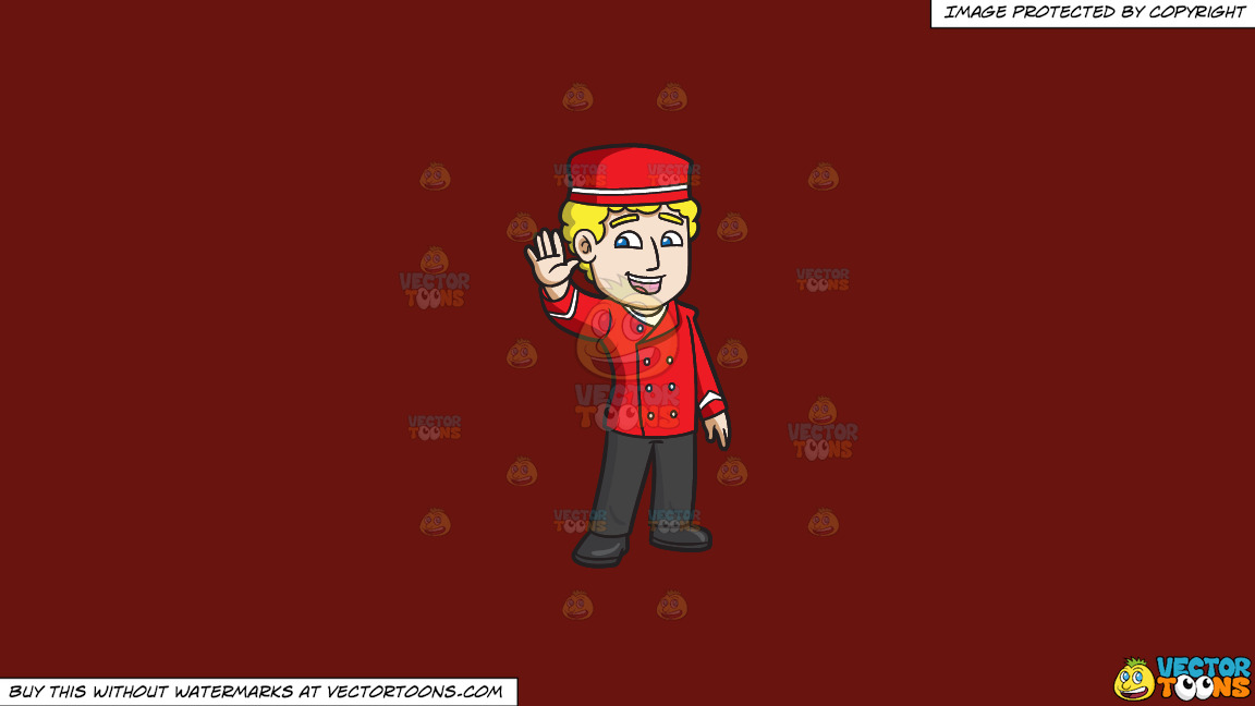 A Parking Valet Waving Hello On A Solid Maroon 69140e Background thumbnail