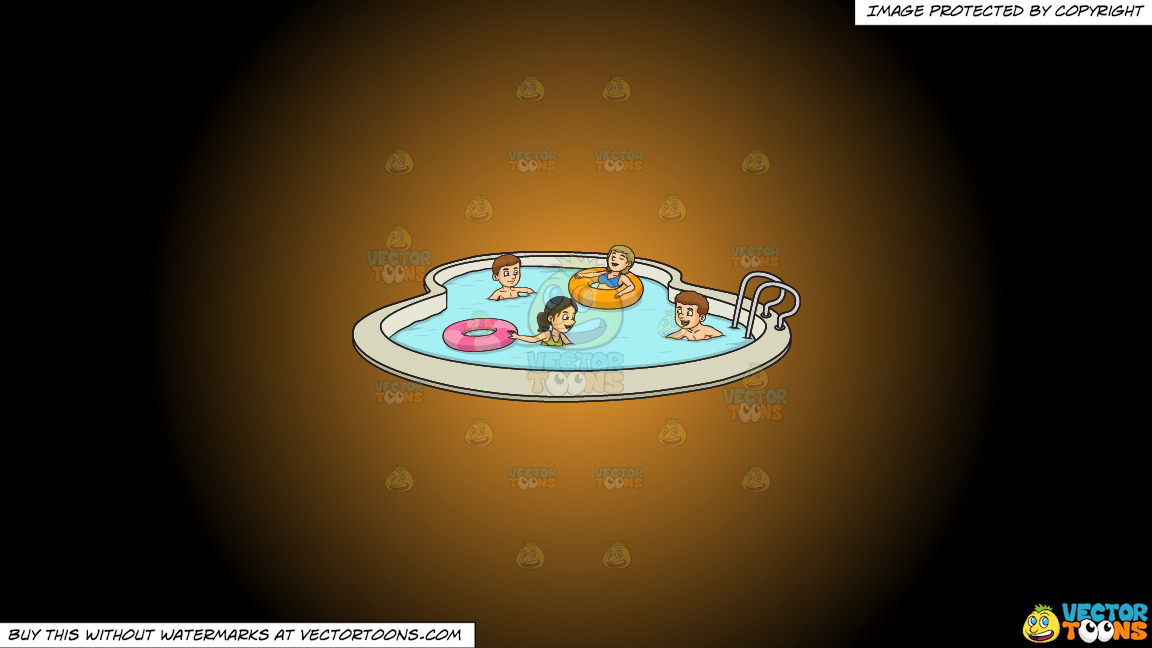 A Party Of Four Enjoying A Swim Party On A Orange And Black Gradient Background thumbnail