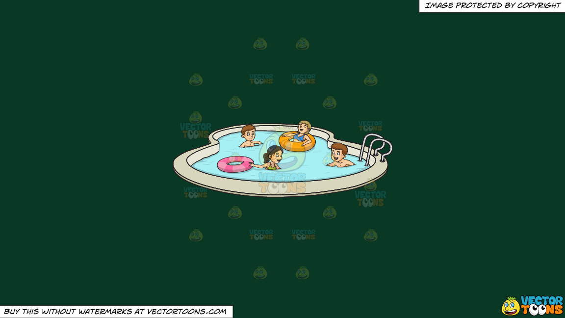 A Party Of Four Enjoying A Swim Party On A Solid Dark Green 093824 Background thumbnail