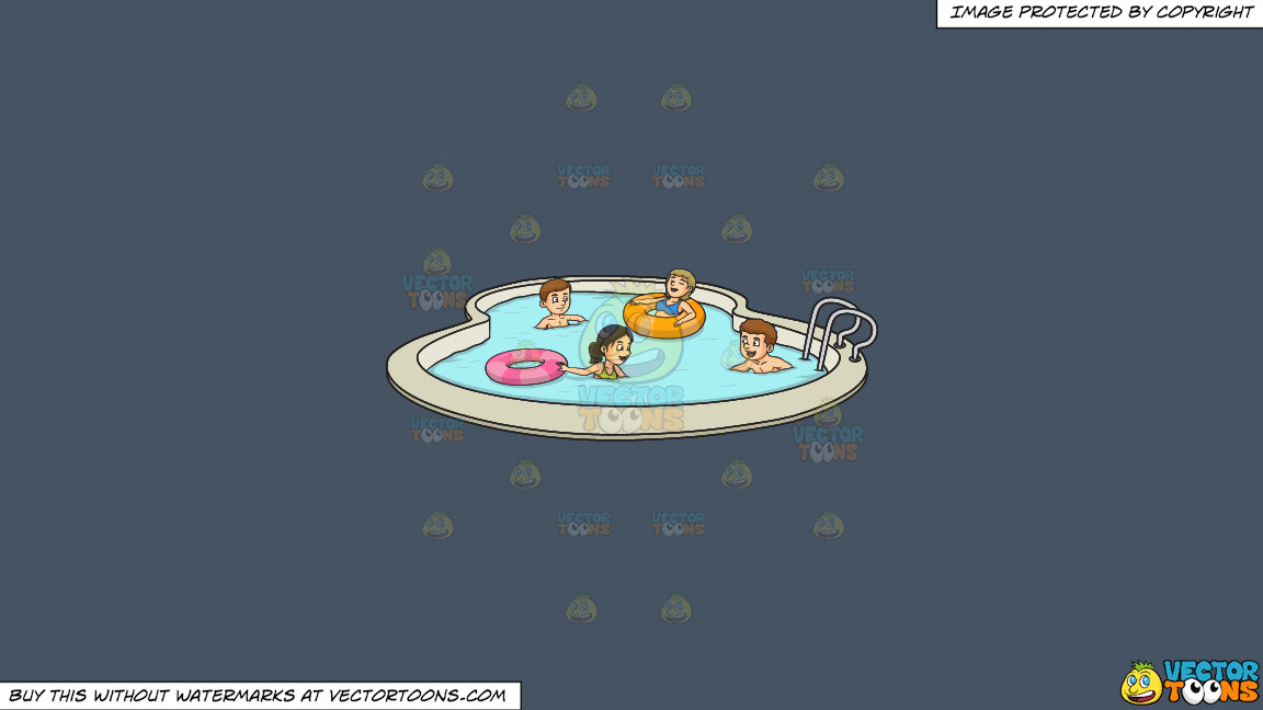 A Party Of Four Enjoying A Swim Party On A Solid Metal Grey 465362 Background thumbnail