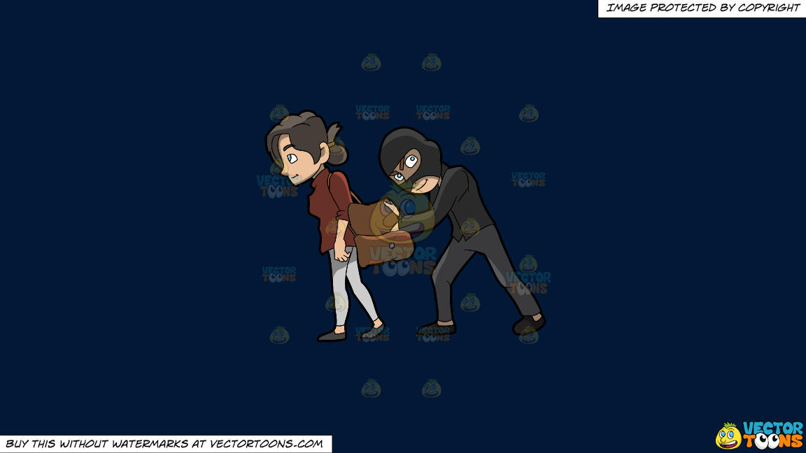 A Pickpocket Robbing An Item Off The Bag Of An Unsuspecting Woman On A Solid Dark Blue 011936 Background thumbnail