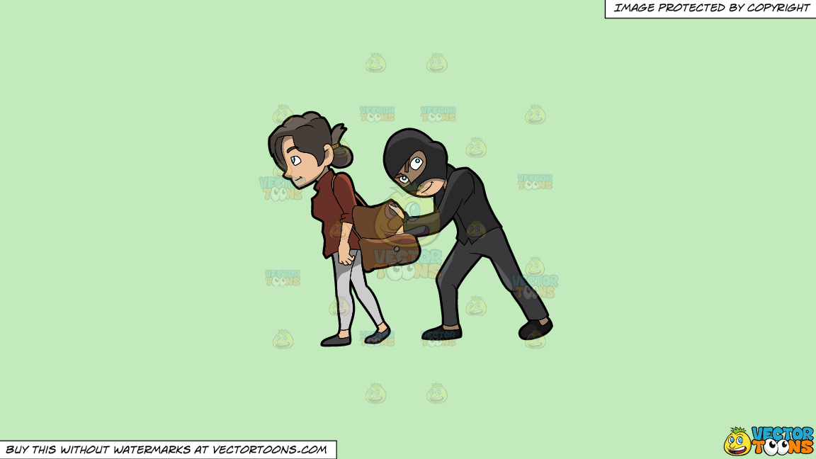 A Pickpocket Robbing An Item Off The Bag Of An Unsuspecting Woman On A Solid Tea Green C2eabd Background thumbnail