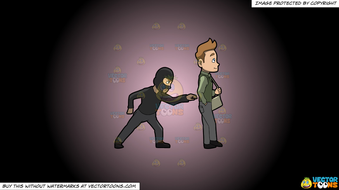 A Pickpocket Trying To Rob The Wallet From The Pants Of A Man On A Pink And Black Gradient Background thumbnail