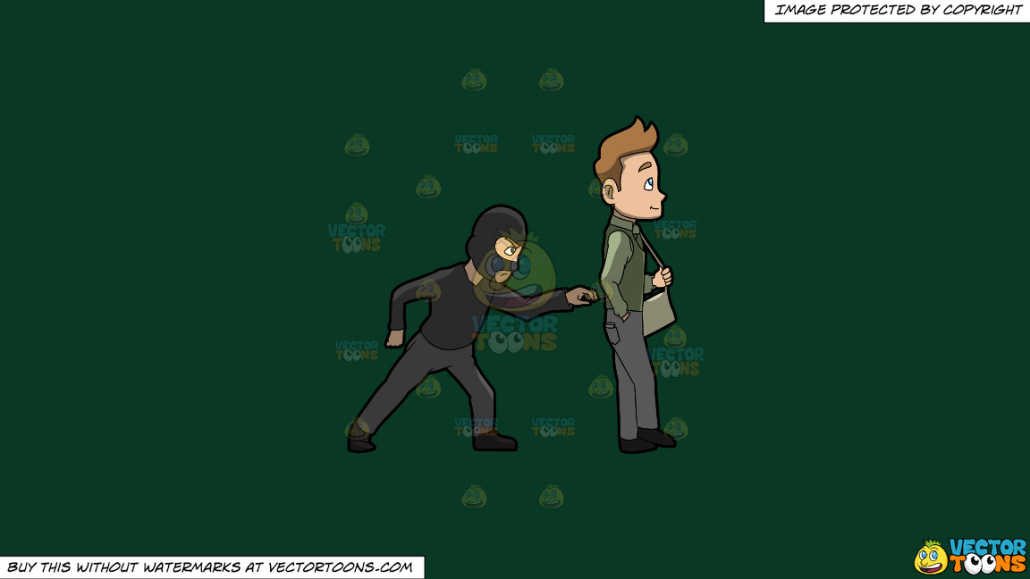 A Pickpocket Trying To Rob The Wallet From The Pants Of A Man On A Solid Dark Green 093824 Background thumbnail