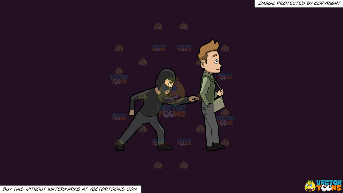 A Pickpocket Trying To Rob The Wallet From The Pants Of A Man On A Solid Purple Rasin 241023 Background thumbnail