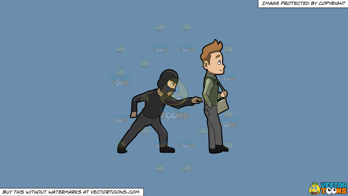 A Pickpocket Trying To Rob The Wallet From The Pants Of A Man On A Solid Shadow Blue 6c8ead Background thumbnail