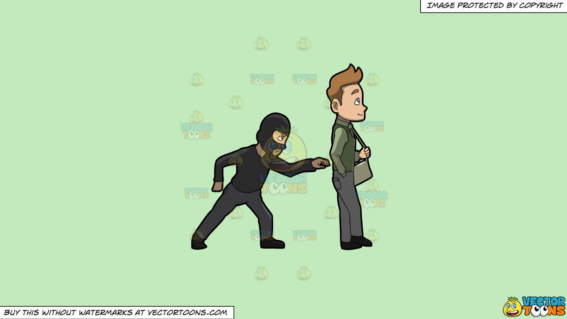 A Pickpocket Trying To Rob The Wallet From The Pants Of A Man On A Solid Tea Green C2eabd Background thumbnail