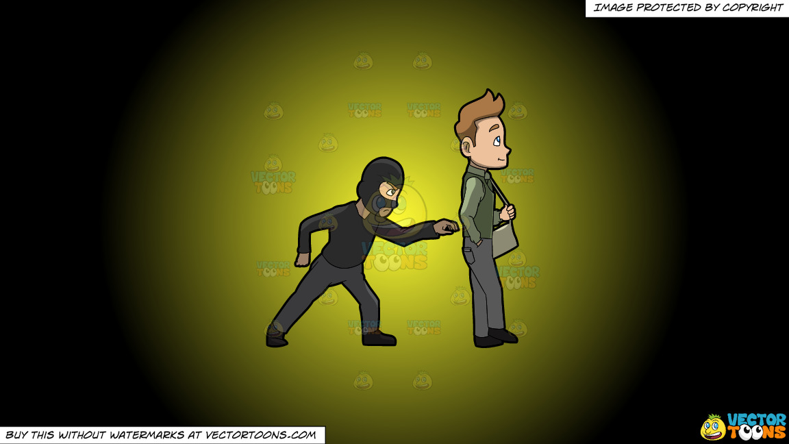 A Pickpocket Trying To Rob The Wallet From The Pants Of A Man On A Yellow And Black Gradient Background thumbnail