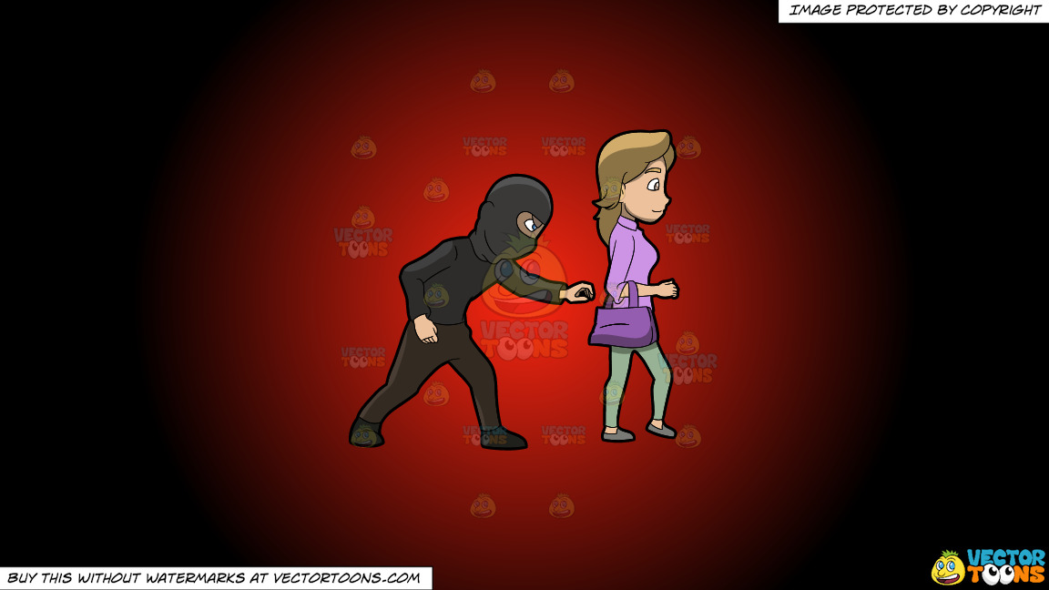 A Pickpocket Trying To Steal An Item From The Bag Of A Lady On A Red And Black Gradient Background thumbnail