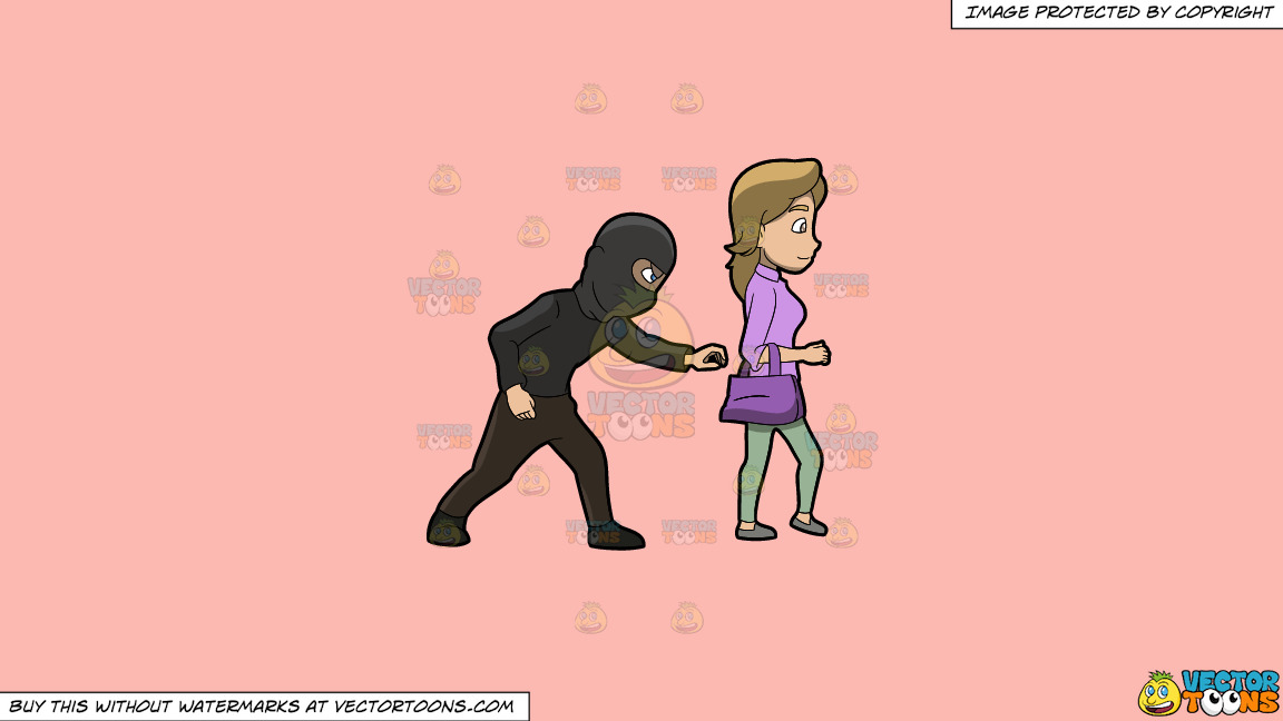 A Pickpocket Trying To Steal An Item From The Bag Of A Lady On A Solid Melon Fcb9b2 Background thumbnail