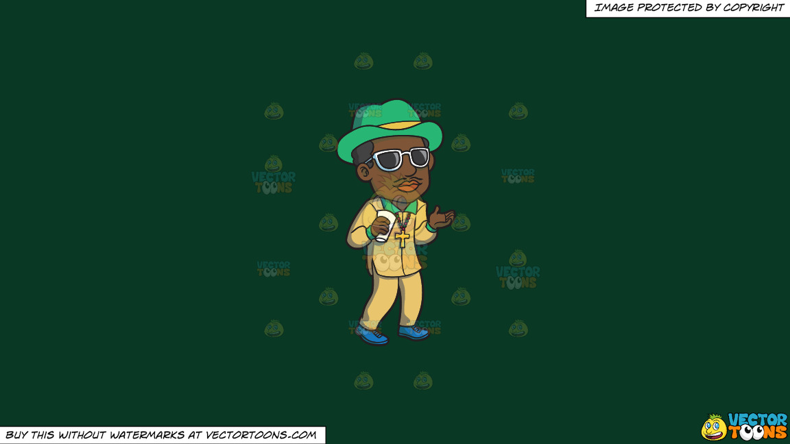 A Pimp Chilling Out On A Solid Dark Green 093824 Background thumbnail