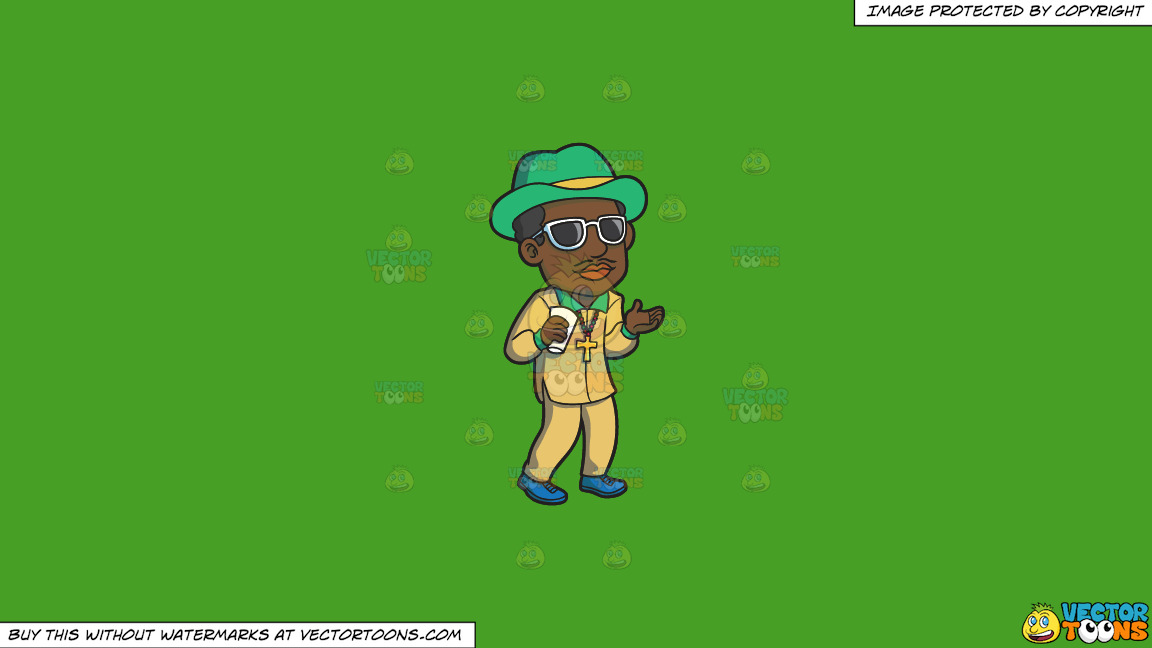A Pimp Chilling Out On A Solid Kelly Green 47a025 Background thumbnail