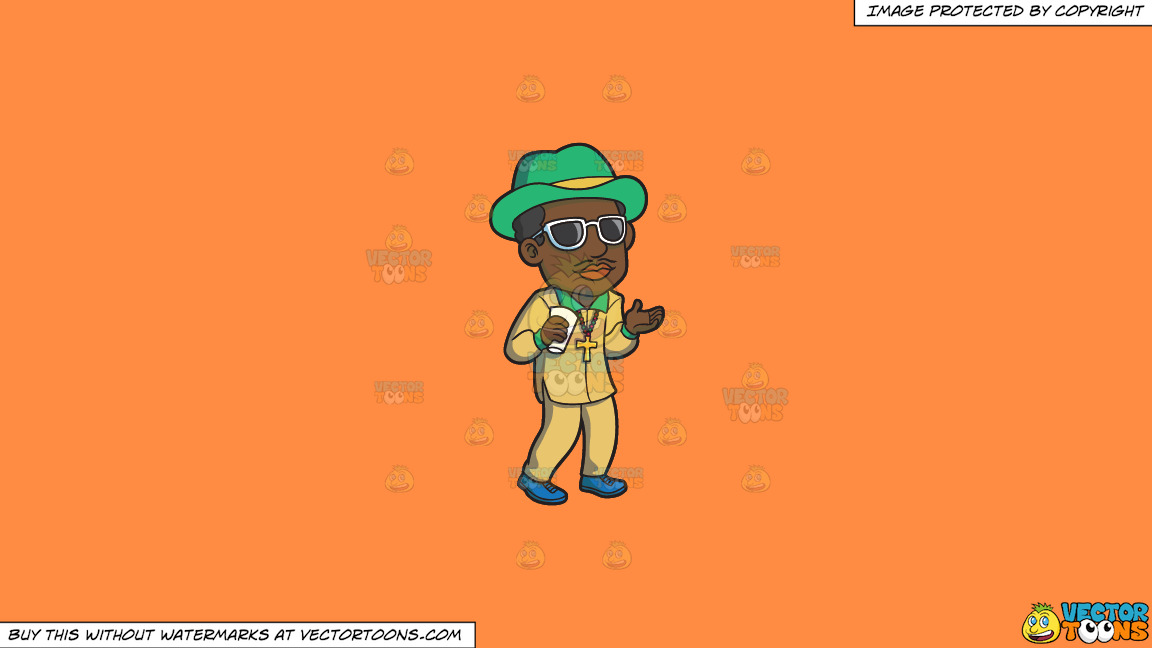 A Pimp Chilling Out On A Solid Mango Orange Ff8c42 Background thumbnail
