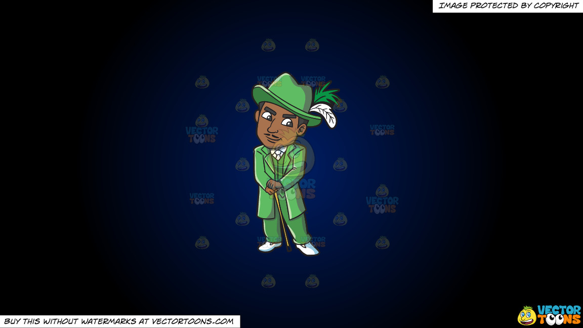 A Pimp In Groovy Green Ensemble On A Dark Blue And Black Gradient Background thumbnail