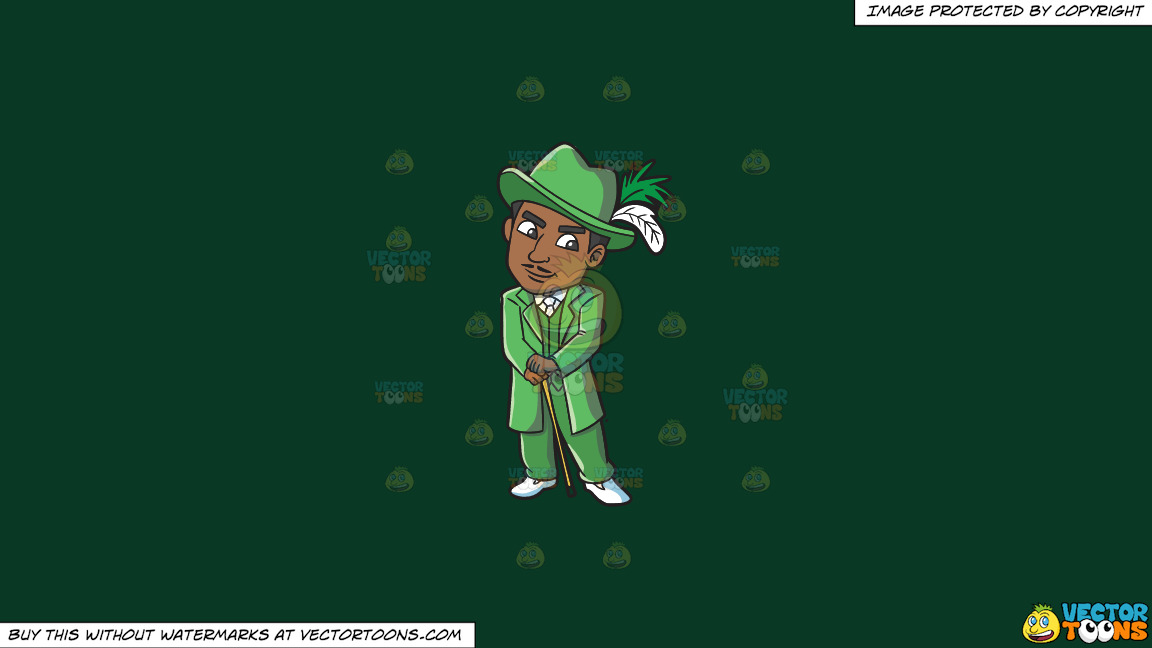 A Pimp In Groovy Green Ensemble On A Solid Dark Green 093824 Background thumbnail
