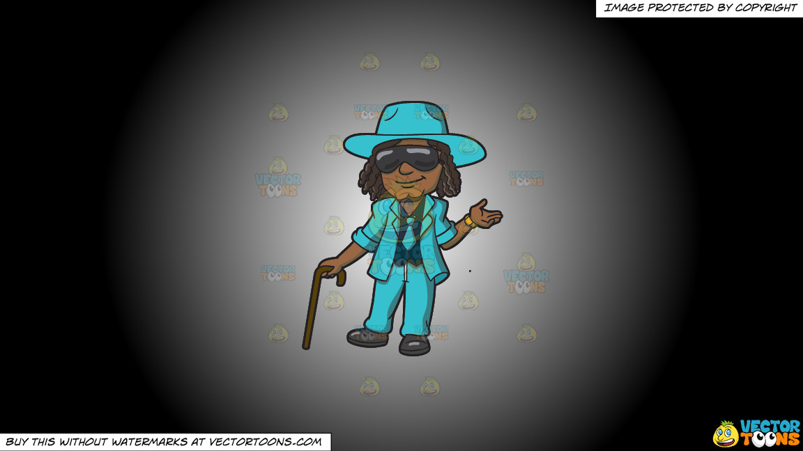 A Pimp In Teal On A White And Black Gradient Background thumbnail