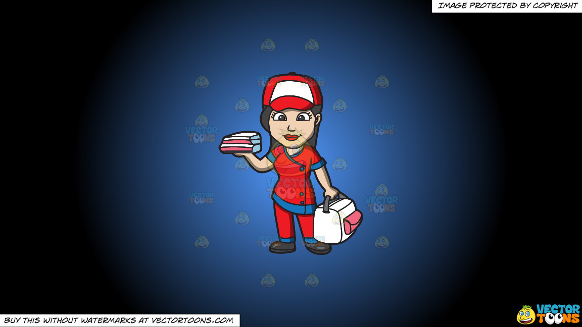 A Pizza Delivery Girl On A Blue And Black Gradient Background thumbnail