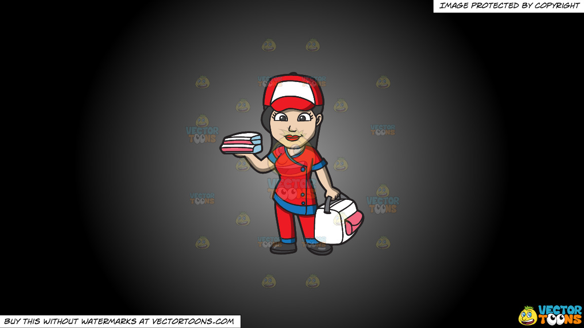 A Pizza Delivery Girl On A Grey And Black Gradient Background thumbnail