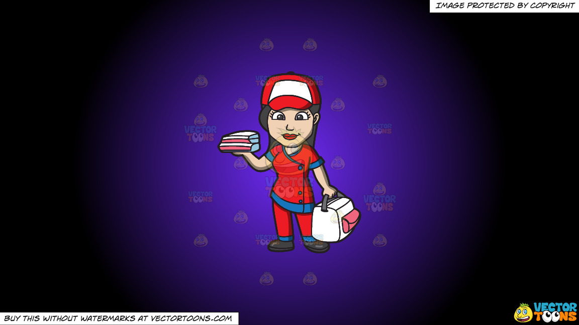 A Pizza Delivery Girl On A Purple And Black Gradient Background thumbnail